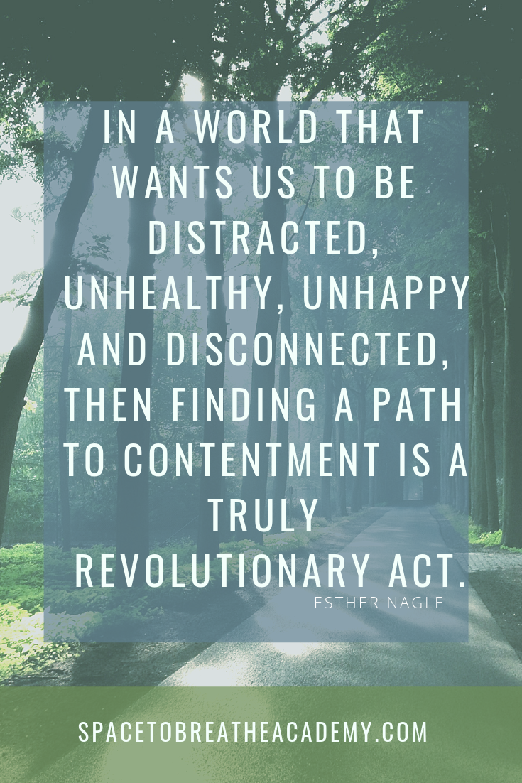 If the modern world requires us to be distracted, unhealthy, unhappy and disconnected, then finding a path to contentment is a truly revolutionary act.