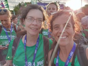 Esther Nagle and Sherry Bevan at the end of the Macmillan Jurassic Coast mighty hike
