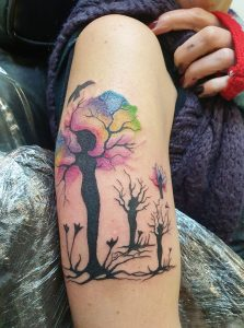 tree mamma and her 3 saplings tattoo
